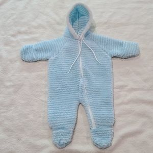 Vintage Triboro hooded fleece baby bunting 0-3 mos